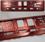Red (metallic) color license plate frame R-6